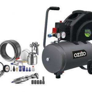 Trọn bộ đi kèm của máy bơm hơi Ozito