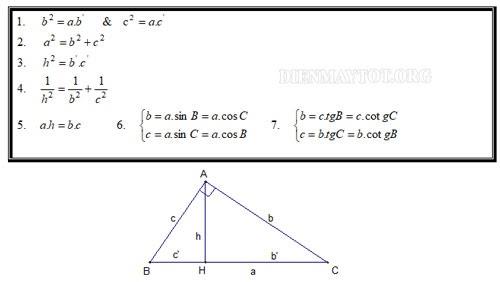 hệ thức lượng trong tam giác vuông cần nhớ