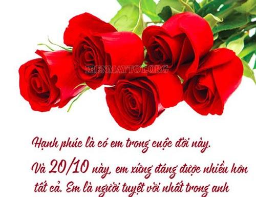 Lời chúc 20 tháng 10 dành cho người yêu và vợ