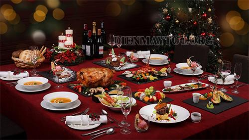 giáng sinh làm một bàn tiệc