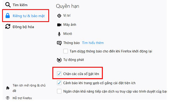 Click chọn Chặn cửa sổ bật lên