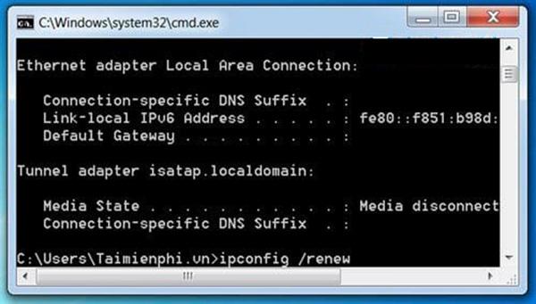 Màn hình lệnh của để khôi phục lại wifi