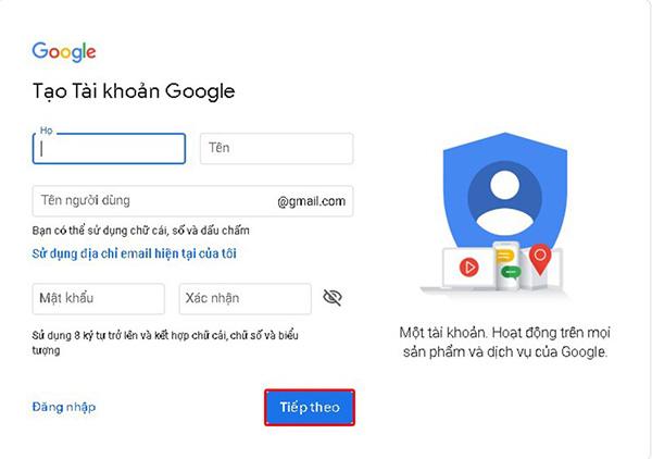 đăng ký gmail không cần số điện thoại