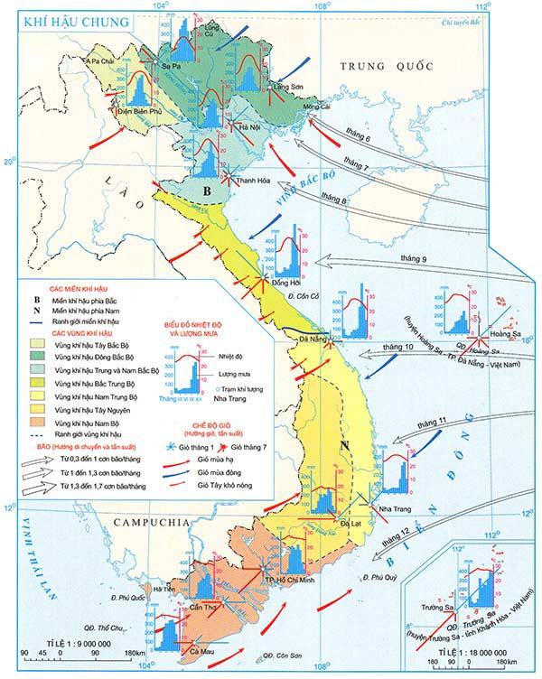 Hướng Đông Tây Nam Bắc dựa vào bản đồ Atlat