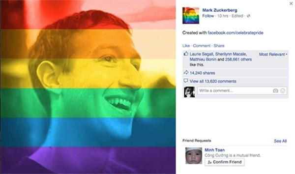 Thay ảnh đại diện Facebook để hưởng ứng cho cộng đồng LGBT